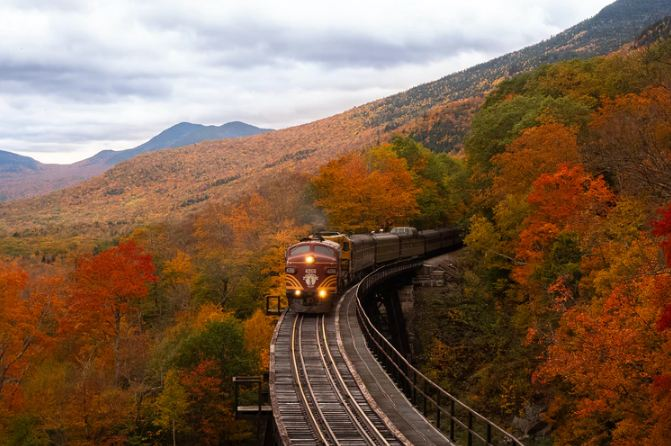 Train going through the mountains of New Hampshire, United States